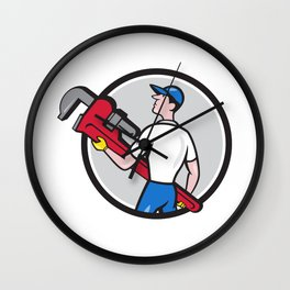 Plumber Carry Monkey Wrench Walking Circle Cartoon Wall Clock