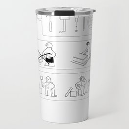 Superheroes Assembling - Black & White Travel Mug
