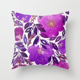 hand painted flowers_3b Throw Pillow