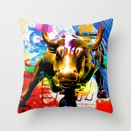 Wall Street Bull Painted Throw Pillow
