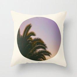Sunset Purple Palm Tree Circle Photo Throw Pillow