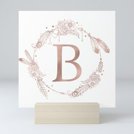 Letter B Rose Gold Pink Initial Monogram Mini Art Print