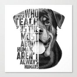 Rottweiler Quote Text Portrait Canvas Print