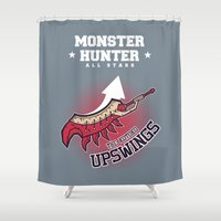 monster hunter Shower Curtains featuring Monster Hunter All Stars - The Kotoko Upswings  by Bleached ink