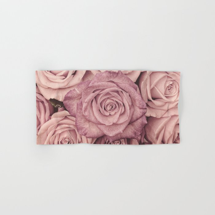 Some People Grumble - Pink Rose Pattern- Roses Hand & Bath Towel