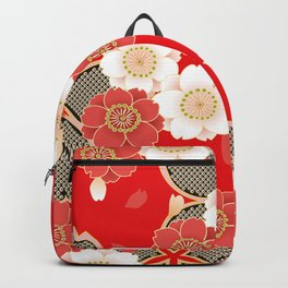 Japanese Vintage Red Black White Floral Kimono Pattern Backpack