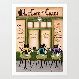 Les Cafe des Chats Art Print