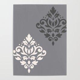 Scroll Damask Art I Cream & Grays Poster