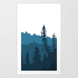 Tree Gradient Blue Art Print