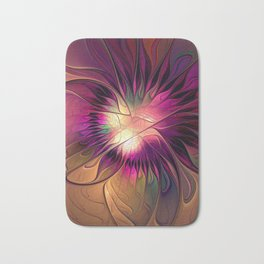 Flowering Fantasy, Abstract Fractal Art Bath Mat