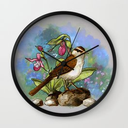 Bird with Ladyslipper Flowers, Nature, Garden Painting Wall Clock