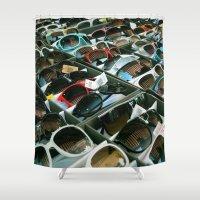 sunglasses Shower Curtains featuring Sunglasses 102 by Alex DZ