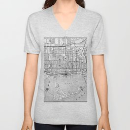 Vintage Map of Toronto (1906) BW Unisex V-Neck