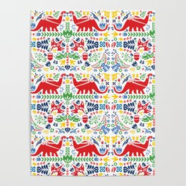 Swedish Folk Art Dinosaurs Poster