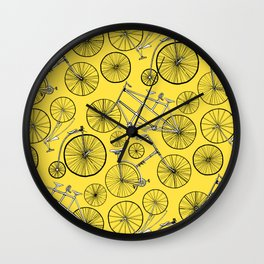 Monochrome Vintage Bicycles On Bright Yellow Wall Clock