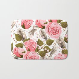 flowers with feathers Bath Mat