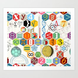 Math in color (white Background) Art Print