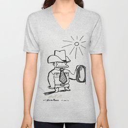 Cowboy Ape with Giant Tie Unisex V-Neck