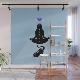 Yoga lady cat Wall Mural