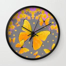 YELLOW BUTTERFLIES FLORAL PINK-GREY ART Wall Clock