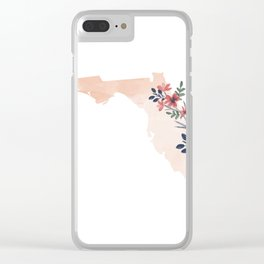 Florida Watercolor Floral State Clear iPhone Case