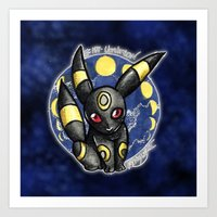 umbreon Art Prints featuring 197 - Umbreon by Lyxy