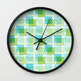 Halftone Moiré - Blue & Green Wall Clock