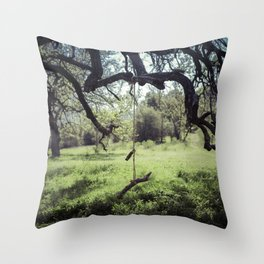 Lonely Tree Swing Throw Pillow