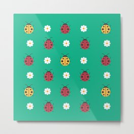 Cute Kawaii Ladybugs Metal Print