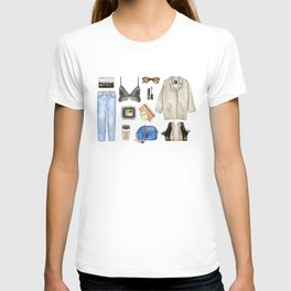 watercolor sketch. woman fashion outfit T-shirt