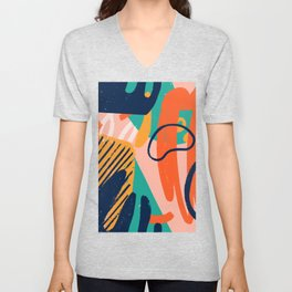 Creative doodle art header with different shapes and textures illustration pattern Unisex V-Neck