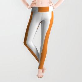 Cadmium orange - solid color - white vertical lines pattern Leggings