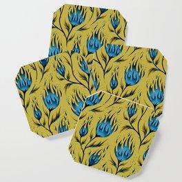 Fire Flower - Gold Blue Coaster