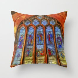 Stained Glass Window Van Gogh Throw Pillow