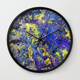 Purple with Yellow Rain Wall Clock