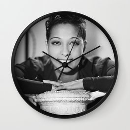 Josephine Baker Portrait of an African American Woman black and white photograph / art photography Wall Clock