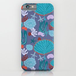 Cute Vibrant Coral Cluster Pattern in Blues II iPhone Case