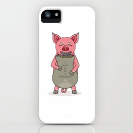 pig and bag with gold coins iPhone Case