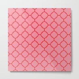 Quatrefoil - Pink & Red  Metal Print