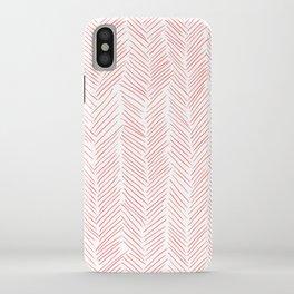 Living Coral Herringbone iPhone Case