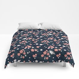 Navy blue cherry blossom finch Comforters