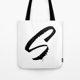Letter S Ink Monogram Tote Bag