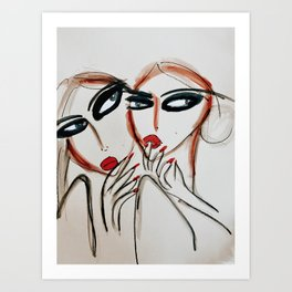 Gossip at Brunch Art Print