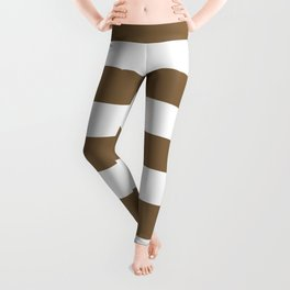 Raw umber - solid color - white stripes pattern Leggings