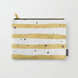 Modern hand painted yellow gold black watercolor splatters stripes Carry-All Pouch