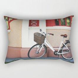White vintage bike Rectangular Pillow