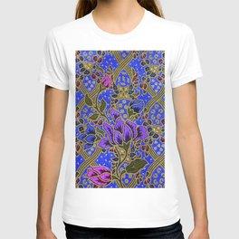 Neon Blue Purple Floral Pattern Leafs T-shirt