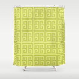 Lime Greek Key Pattern Shower Curtain