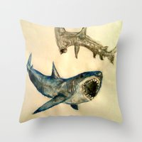 sharks Throw Pillows featuring Sharks by Jen Hallbrown