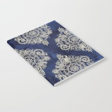 Cream Floral Moroccan Pattern on Deep Indigo Ink Notebook